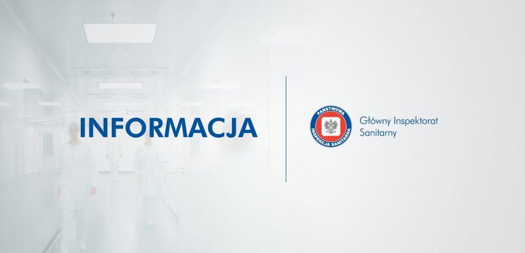 Informacja Głównego Inspektora Sanitarnego w związku z potencjalnym ryzykiem zakażenia koronawirusem